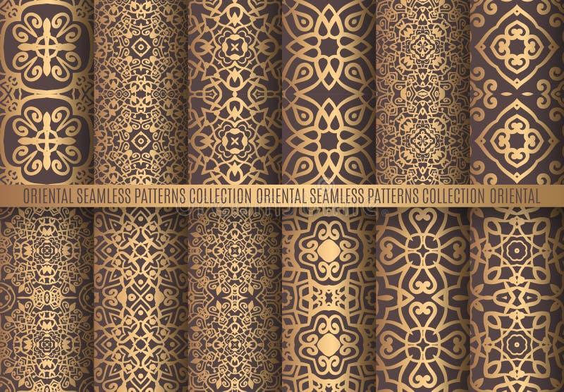 Goldene Arabesken-Muster lizenzfreie abbildung
