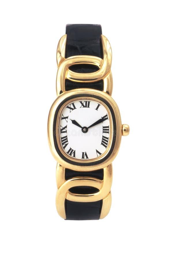 Goldene Armbanduhr isoliert auf Weiß mit Clickweg stockfotografie