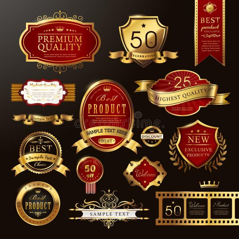 Goldene Aufklebersammlung der eleganten erstklassigen Qualität stock abbildung