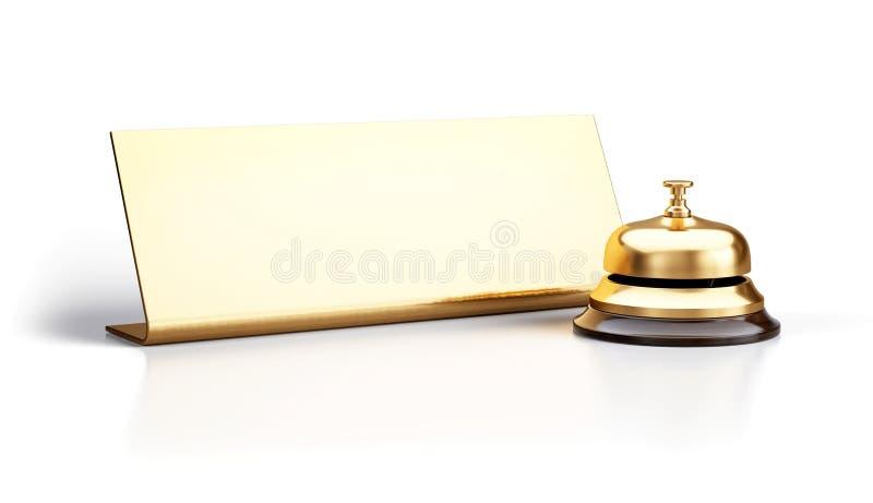 Goldene Aufnahmeglocke und leeres Zeichen lokalisiert auf weißem Hintergrund stock abbildung