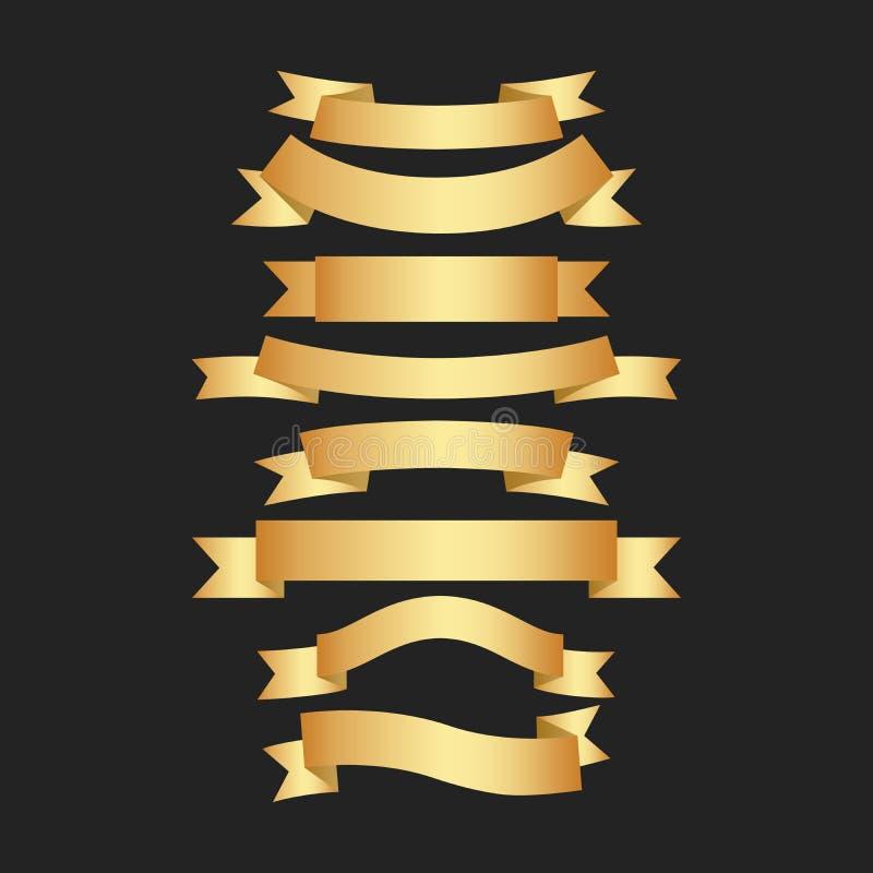 Goldene Bänder auf schwarzem Hintergrund Premium-Bänder Vektor-Abbildung vektor abbildung