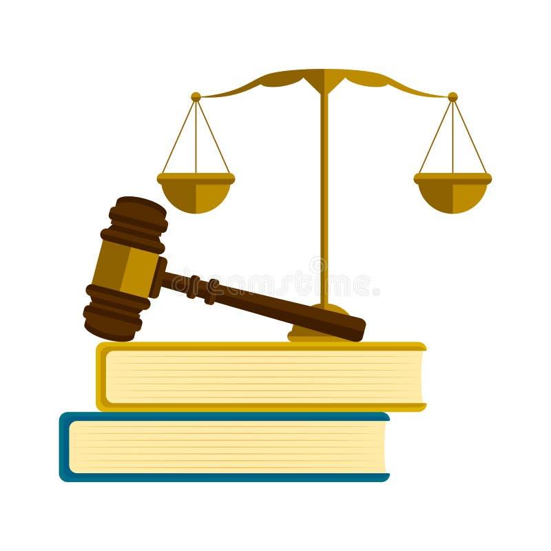 Goldene Balance, ein Hammer und Bücher stock abbildung