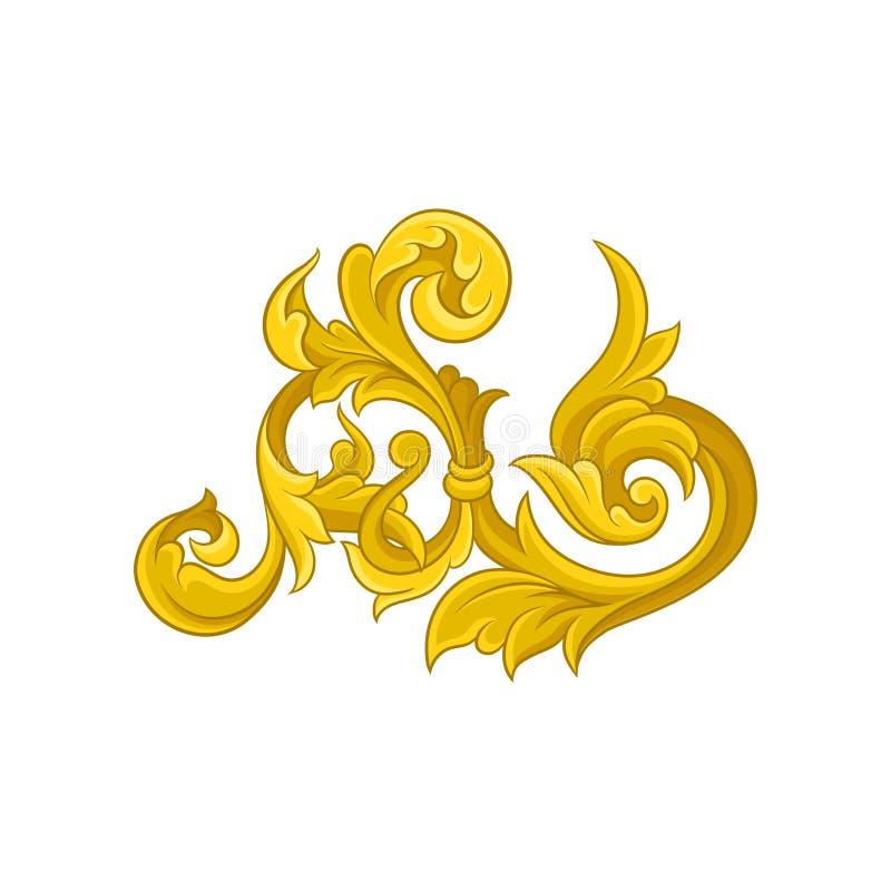 Goldene barocke Verzierung Muster im viktorianischen Stil Dekoratives mit Filigran geschmücktes Element Luxusblumenarabeske ENV 1 stock abbildung