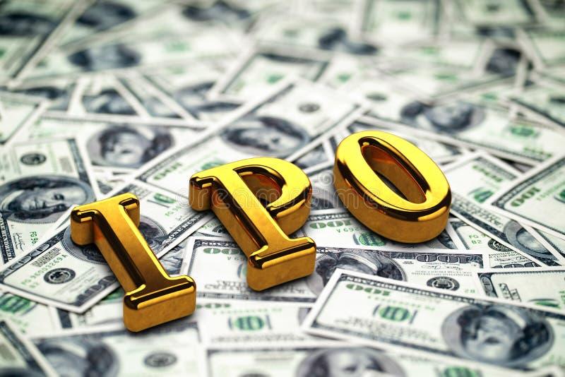 Goldene begrifflichabk?rzung von IPO Stellung oder L?gen auf Gelddollar-Banknotenhintergrund 3d ?bertragen stockfoto