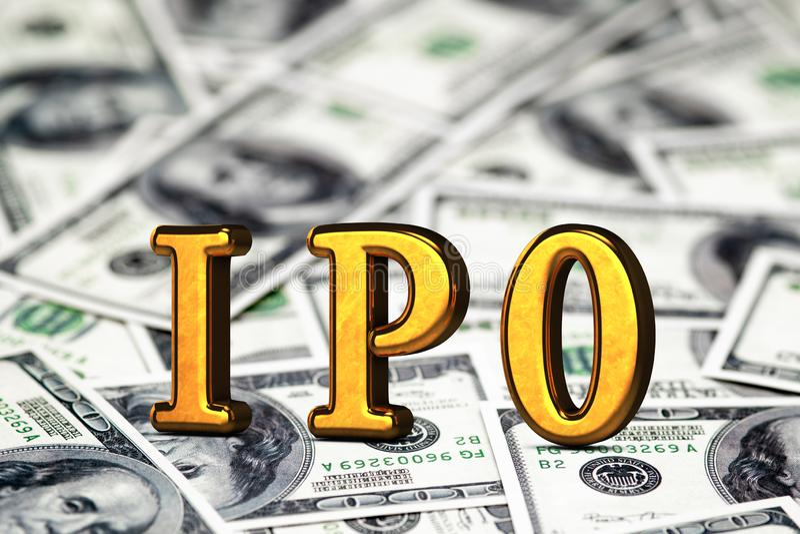 Goldene begrifflichabk?rzung von IPO Stellung oder L?gen auf Gelddollar-Banknotenhintergrund 3d ?bertragen stockbild