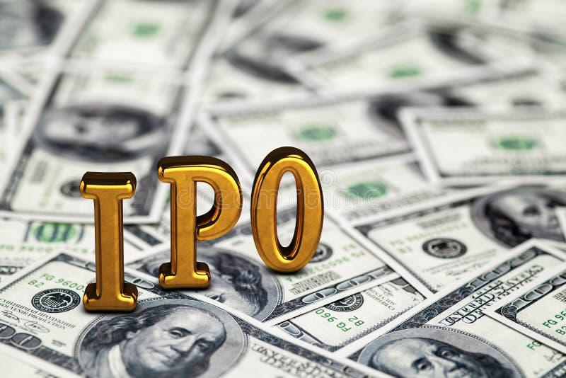 Goldene begrifflichabk?rzung von IPO Stellung oder L?gen auf Gelddollar-Banknotenhintergrund 3d ?bertragen stockbilder