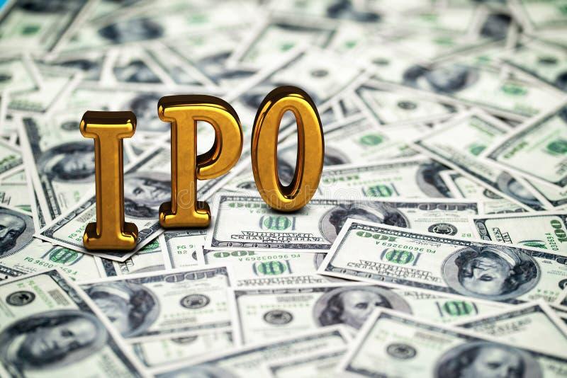 Goldene begrifflichabk?rzung von IPO Stellung oder L?gen auf Gelddollar-Banknotenhintergrund 3d ?bertragen lizenzfreie stockfotografie