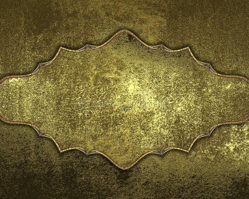 Goldene Beschaffenheit des Schmutzes mit Goldplatte Element für Entwurf Schablone für Entwurf kopieren Sie Raum für Anzeigenbrosc stockbild