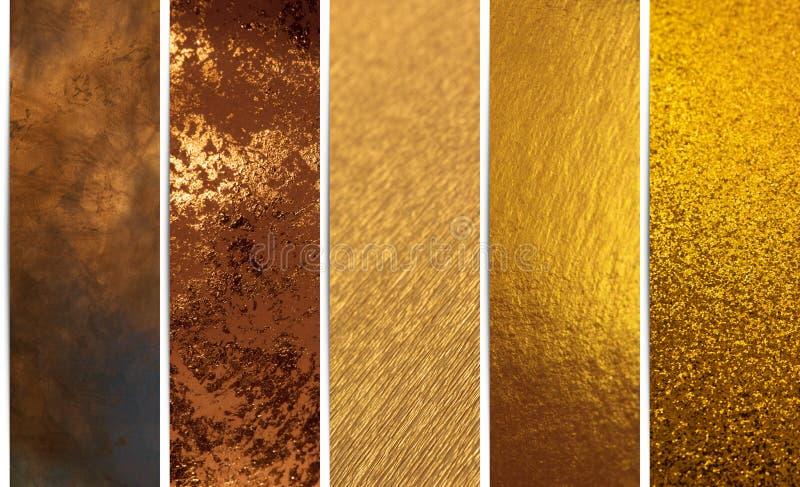 Goldene Beschaffenheits-Fahnen stockfotos