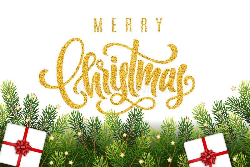 Goldene Beschriftung der frohen Weihnachten Handauf Grußhintergrund mit Baumasten, Geschenken, Bogen und Dekorationen einer Tanne vektor abbildung