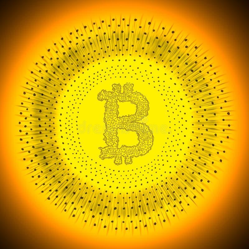 Goldene Bitcoin-cryptocurrency Münze stockfotografie