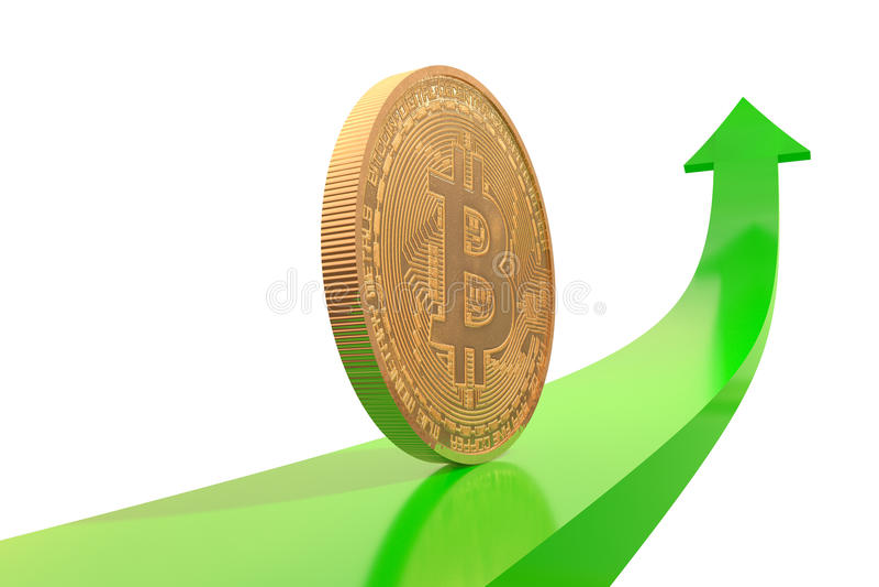 Goldene bitcoin Münze auf grünem Pfeil aufwärts stock abbildung