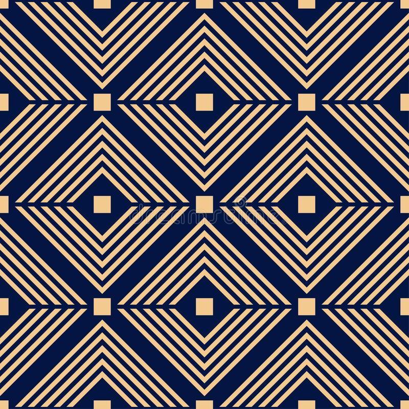 Goldene blaue geometrische Verzierung Nahtloses Muster vektor abbildung