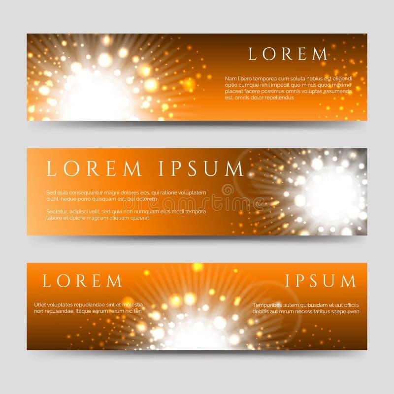 Goldene Blitz- und Sternfahnensammlung lizenzfreie abbildung