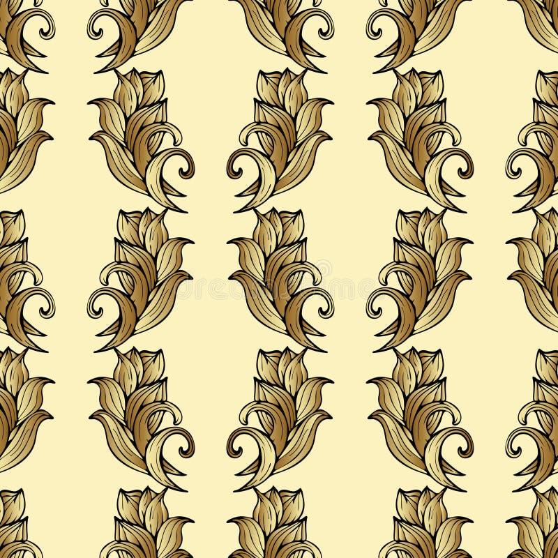 goldene blumen anlagen und bl tter nahtloses muster abstrakter vektorhintergrund teures. Black Bedroom Furniture Sets. Home Design Ideas