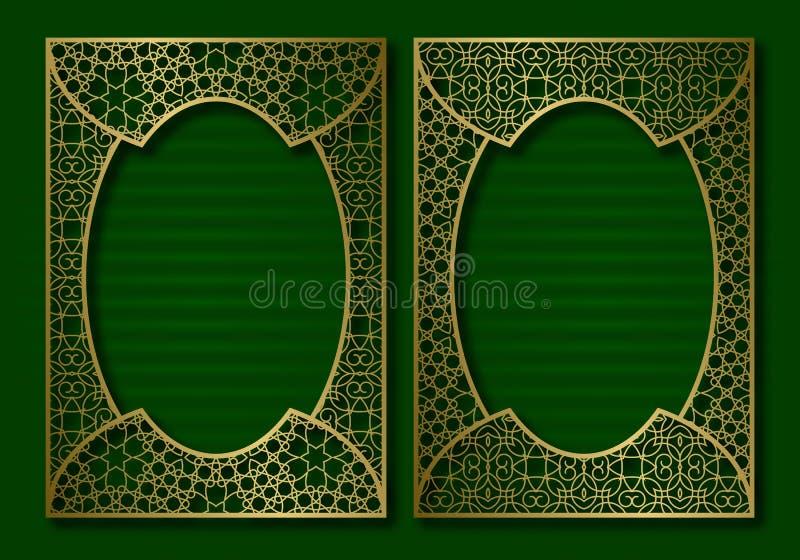 Goldene Bucheinbandschablone Gesicht und Rückseite des Broschürendesigns Weinleserahmen in der orientalischen Art vektor abbildung
