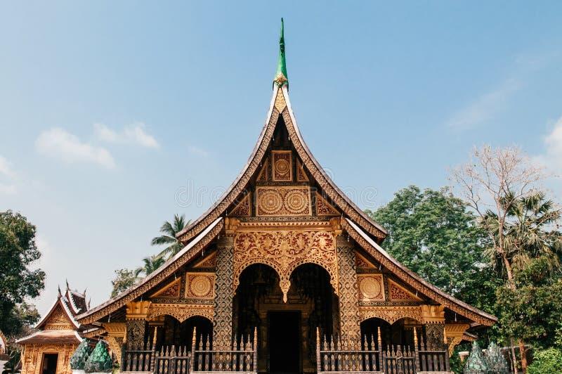 Goldene Buddha-Halle an Wat Xieng-Zapfen, Luang Prabang - Laos lizenzfreie stockfotografie
