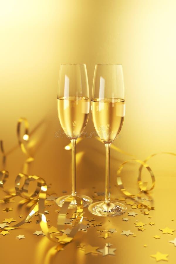 Goldene Champagne stock abbildung