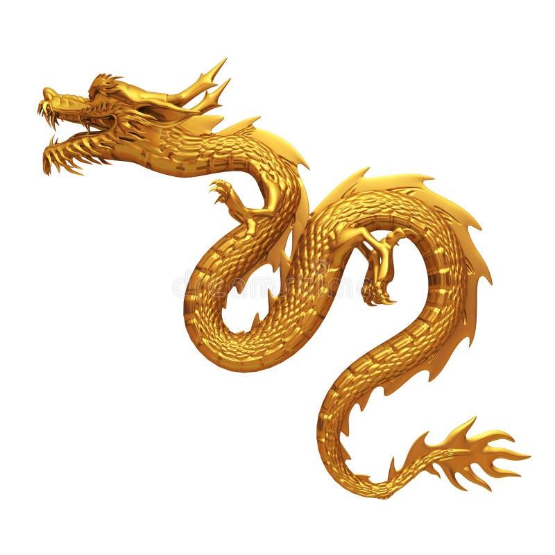 Goldene chinesische Dracheseite lizenzfreie abbildung