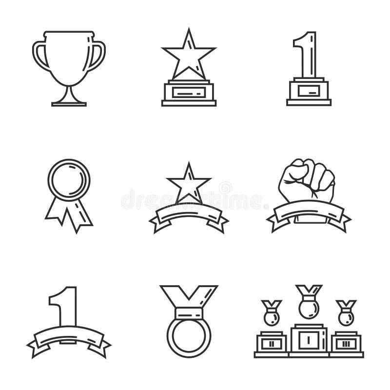 Goldene Cups der Preisikone für Sieger Sporttroph?e lineare Art Vektor stock abbildung