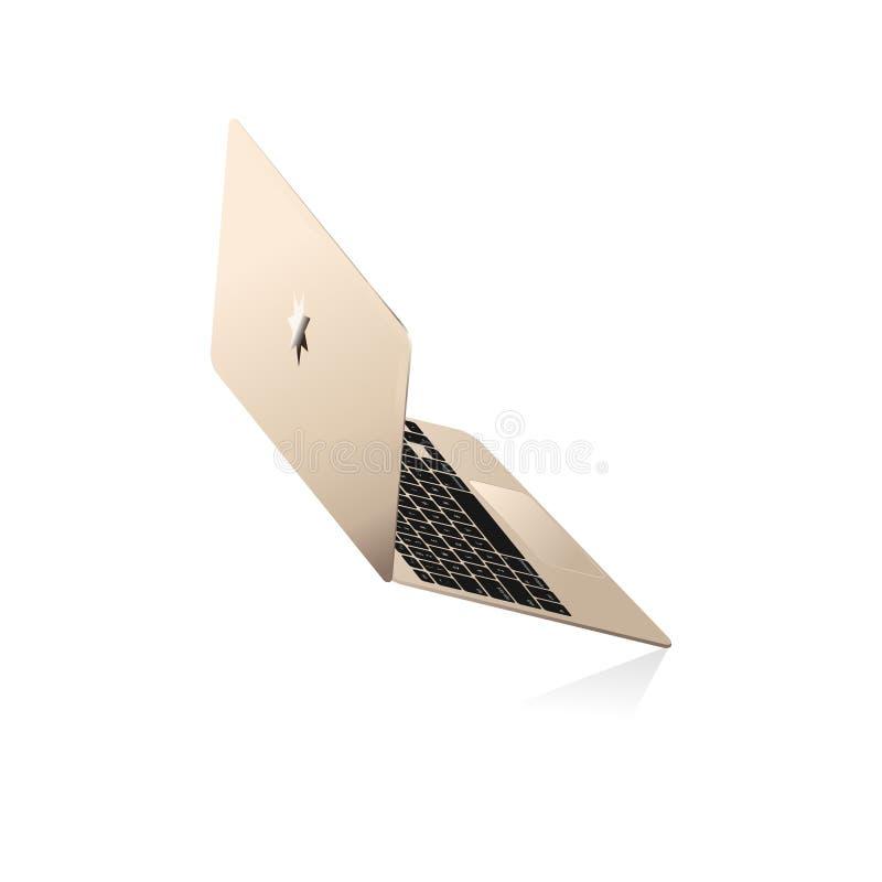 Goldene dünne Laptopseitenperspektivische verkürzung stock abbildung