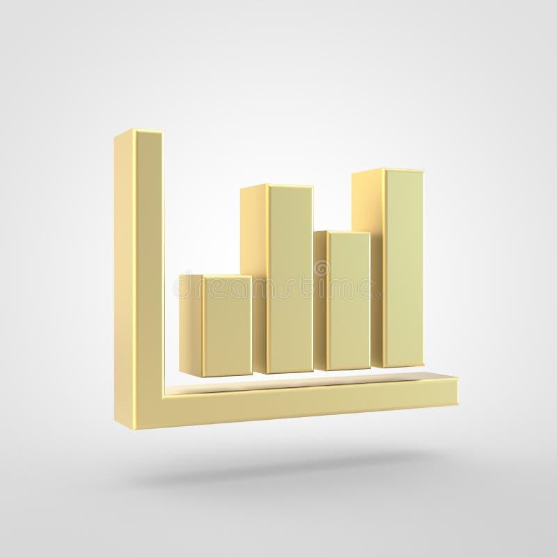 Goldene Diagrammstangenikone lokalisiert auf weißem Hintergrund lizenzfreie abbildung