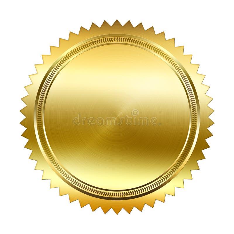 Goldene Dichtung lokalisiert auf weißem Hintergrund vektor abbildung