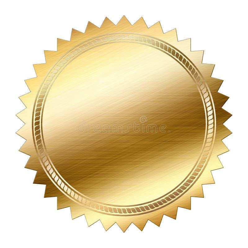 Goldene Dichtung lokalisiert auf weißem Hintergrund lizenzfreie abbildung