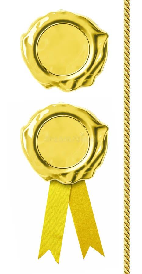 Goldene Dichtungen eingestellt lizenzfreies stockbild
