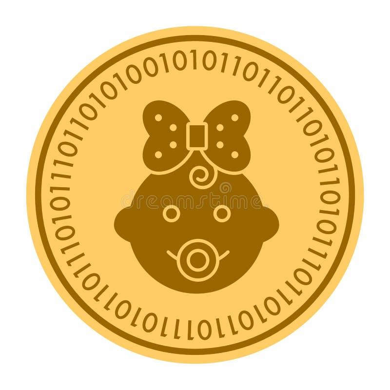 Goldene digitale Münzenhauptikone des Babys Vektorart Goldgelbes flaches Münze cryptocurrency Symbol Lokalisiert auf Weiß lizenzfreie abbildung