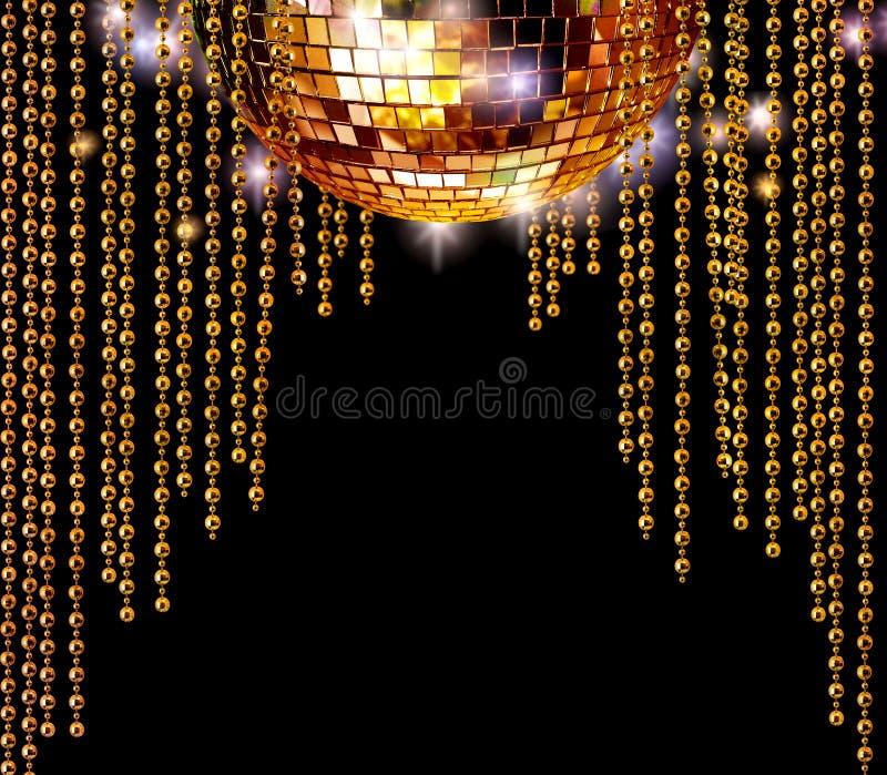 Goldene Discokugel- und -funkelntrennvorhänge stockfoto