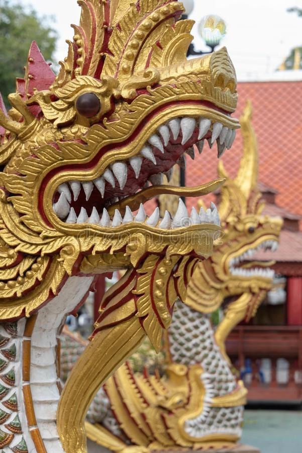 Goldene Drachen, die einen Tempel schützen stockfotografie