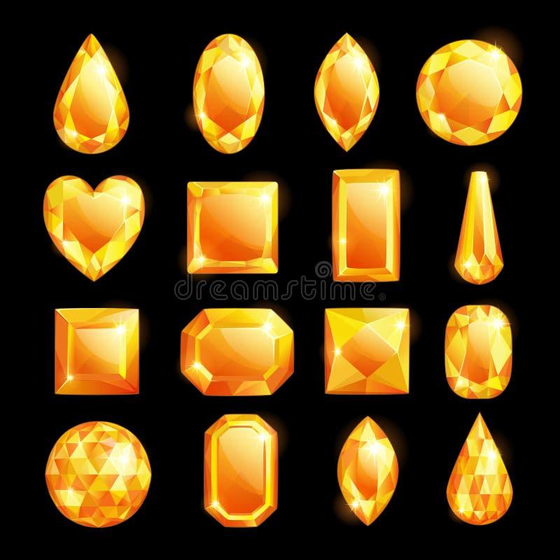 Goldene Edelsteine, Vektorkarikaturillustration Stellen Sie von den Diamanten und von den Juwelen ein Glänzende kostbare Edelstei stock abbildung