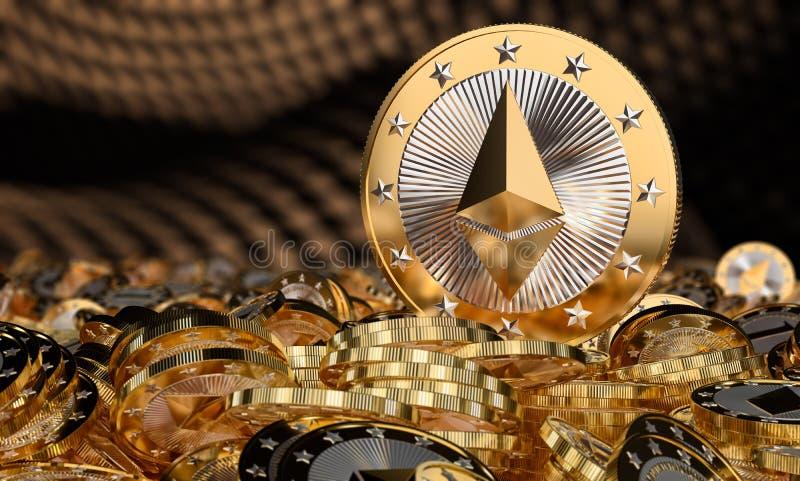 Goldene ethereum Münzen lizenzfreie abbildung