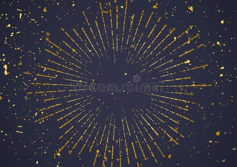 Goldene Explosion barst im Retrostil über dunklem Hintergrund lizenzfreie stockfotografie
