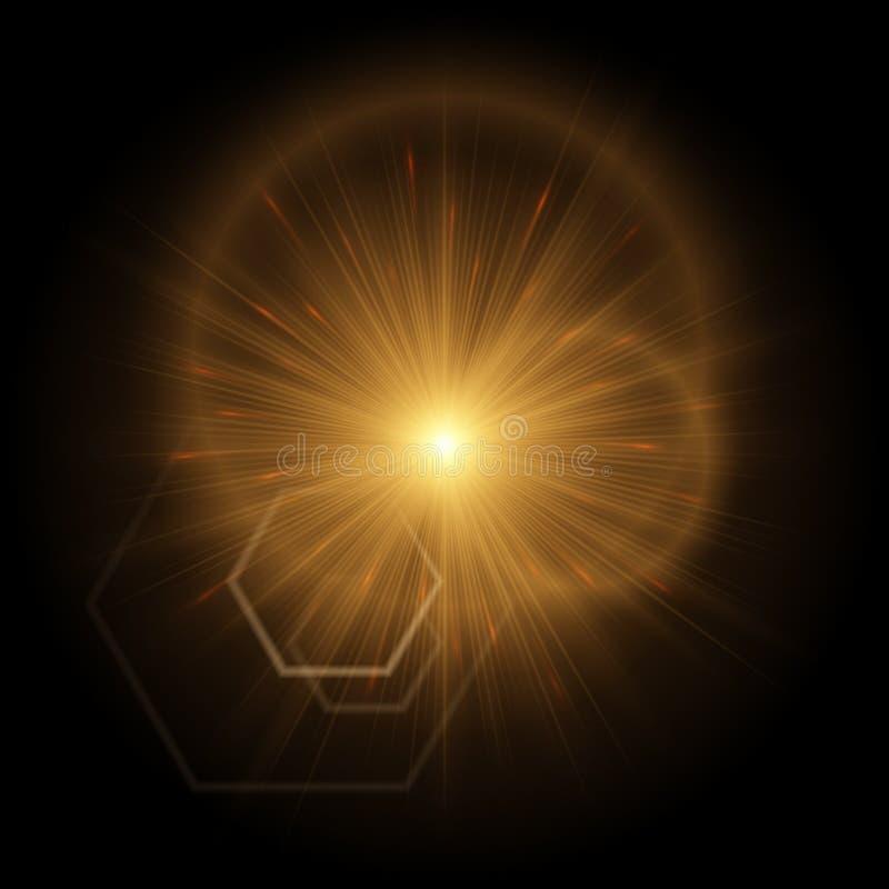 Goldene Explosion mit hellen Höhepunkten vektor abbildung