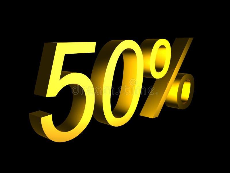 Goldene fünfzig Prozent auf schwarzem Hintergrund 3d übertragen stock abbildung