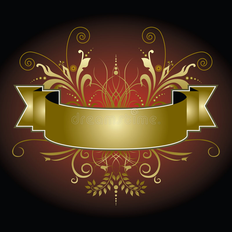 Goldene Fahne mit Flourishes stock abbildung