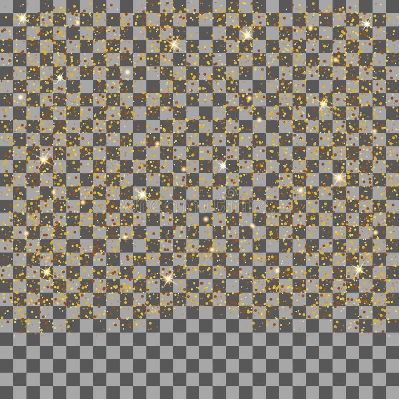 Goldene fallende funkelnde Partikel und Sterne lokalisiert auf transparentem Hintergrund Konfetti-Funkeln lizenzfreie abbildung