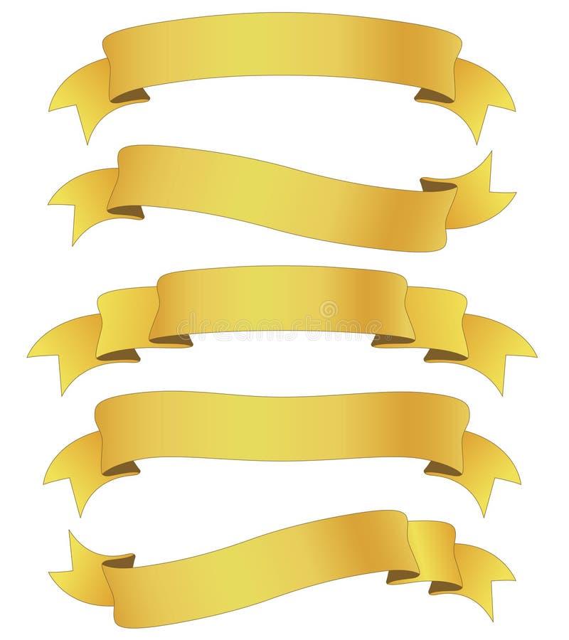 Goldene Farbbänder lizenzfreie abbildung