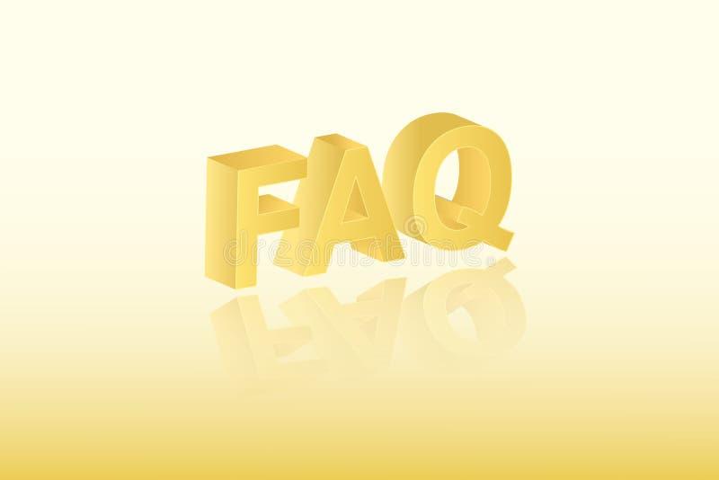 Goldene Farbe-FAQ-Textvektorillustration auf hellem Hintergrund für das Stellen von Fragen über Geschäft und Ausbildung lizenzfreie abbildung