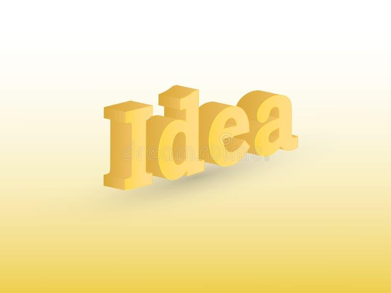 Goldene Farbideentextkonzept-Vektorillustration mit Schatten auf dem weißen Hintergrund, zum von Kreativität zu zeigen lizenzfreie abbildung