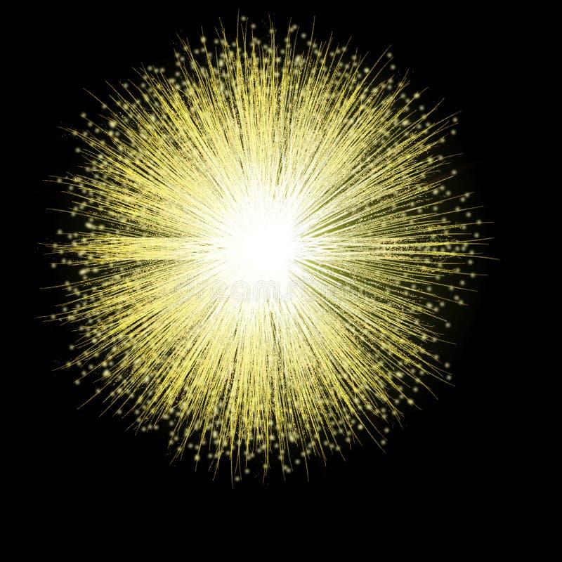 Goldene Feuerwerk-Blüte stockfotografie