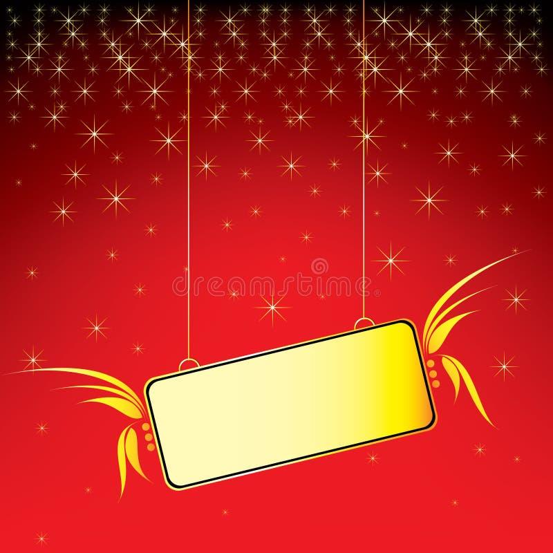 goldene Flügelweihnachtsanschlagtafel lizenzfreie abbildung