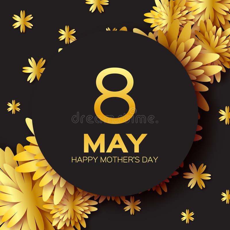 Goldene Folie schnitt Blumengrußkarte - glücklicher Muttertag - Goldschein-Feiertagshintergrund mit Papier Feld-Blumen lizenzfreie abbildung