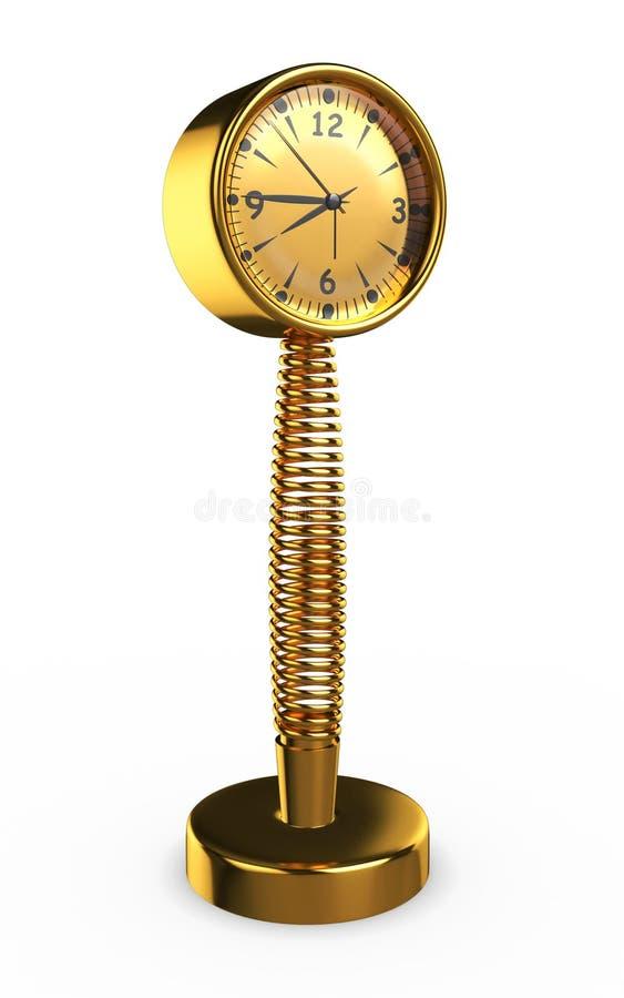 goldene Frühlings-Uhr des Metall3d - stockfotos