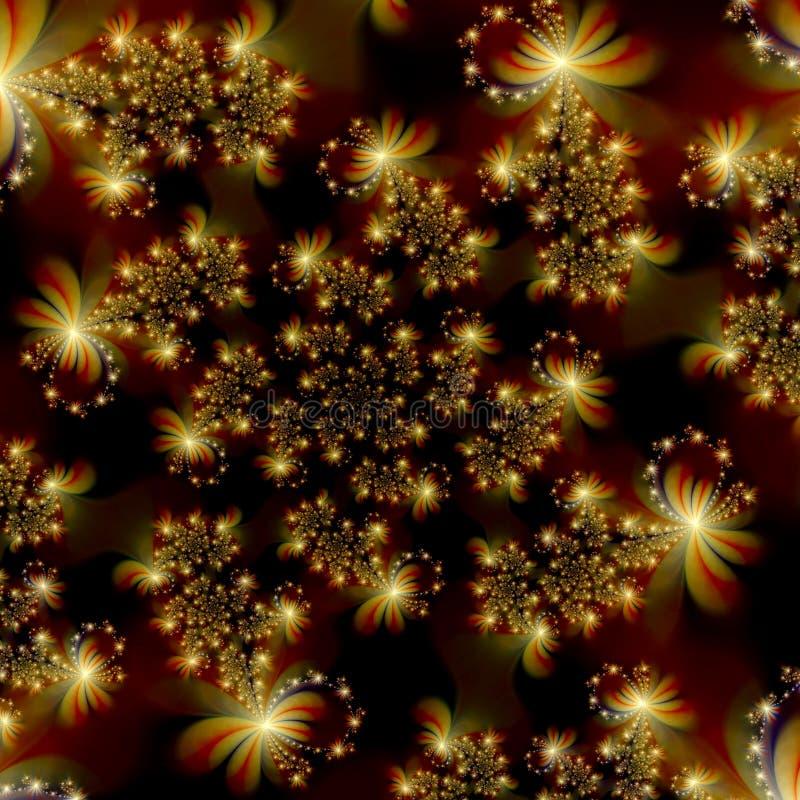 Goldene Fractal-Sterne im Platz-Auszugs-Hintergrund vektor abbildung