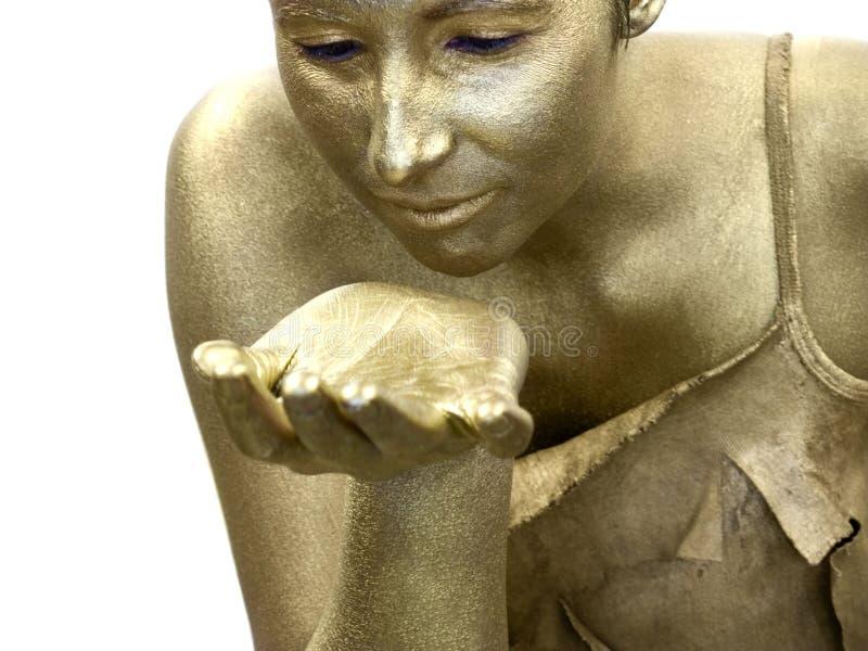 Goldene Frau lizenzfreie stockfotos
