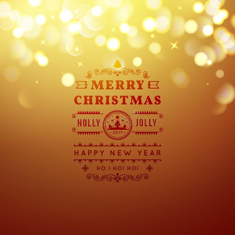Goldene frohe Weihnacht- und guten Rutsch ins Neue Jahr-Karte Weihnachtstypografische Mitteilung Vektor bokeh Hintergrund, festli vektor abbildung