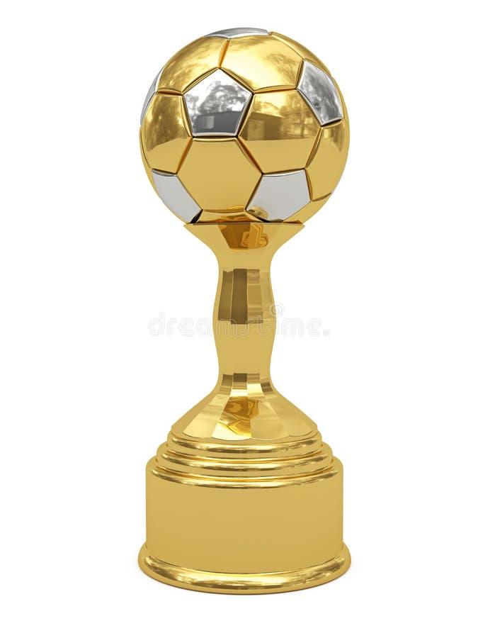 Goldene Fußballkugeltrophäe auf Bedienpult lizenzfreie abbildung